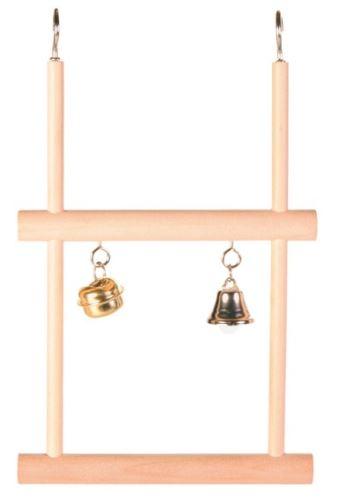 Dvojitá dřevěná houpačka se zvonkem a rolničkou 12x20cm