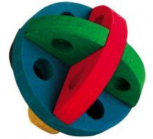 Dřevěný barevný míček na hraní a pamlsky 8 cm