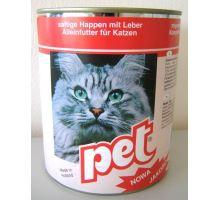 Pet Katze masové kostky s játry pro kočky 855g