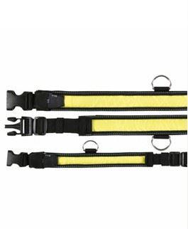 Obojek blikací nylon žluto/černý 55-70cm / 35mm (L-XL)