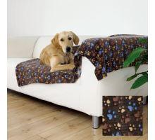 Flízová deka LASLO s tlapičkami 150 x 100 cm - tmavě hnědá