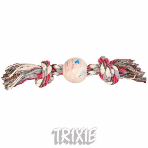 Bavlněná činka s míčem z tvrdé gumy 36cm/7cm TRIXIE
