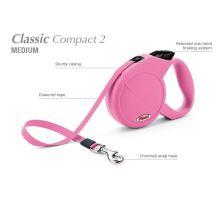Vodítko FLEXI Classic Compact 2 (M) 5m/25kg Pásek růžová