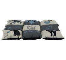 Barevná měkká podložka PATCHWORK kočka 55x45cm šedá/modrá