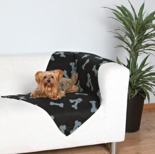 Deka pro psy fleece Beany Černá a kosti 100x70cm