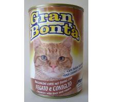 Gran Bonta konzerva králík, játra pro kočky 400g