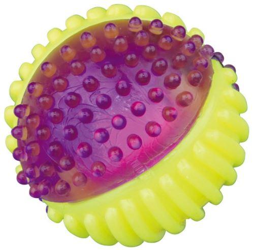 Ježatý míček s blikátkem uvnitř, pevný plast (TPR) 7 cm