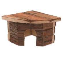 Domek SMALL ANIMAL Rohový dřevěný s kůrou 16 x 16 x 11 cm 1ks