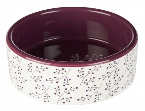 Keramická  miska bílá s motivem rostlin/berry