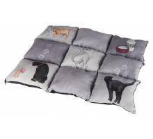 Barevná měkká podložka PATCHWORK kočka 45 x 55 cm šedá