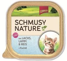 Schmusy Cat Nature Menu vanička Junior losos+jehně 100g