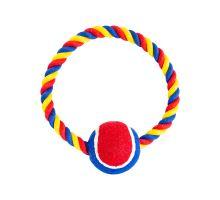 Bavlněný kruh HIP HOP s tenisákem 6 cm, 18 cm / 140 g červená, modrá, bílá