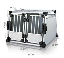 Transport.klec dvojitá, hliník.rám, pevné panely 95x69x88 cm