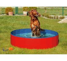 Skládací bazén pro psy modro/červený 80x20cm