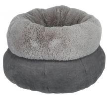 Kulatý pelíšek ELSIE s kožešinou 45 cm, šedý/světle šedý