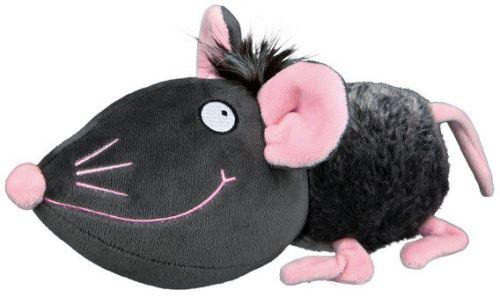 Plyšová myš šedá s růžovýma ušima, čumákem a tlapkami 33 cm