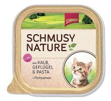 Schmusy Cat Nature Menu vanička Junior telecí+drůbež 100g