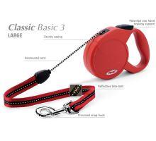 Vodítko FLEXI Classic 3 (L) 5m/50kg Lanko červená