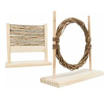 Agility set pro hlodavce - překážka, kruh, dřevo/proutí, 28 × 26 × 12 cm