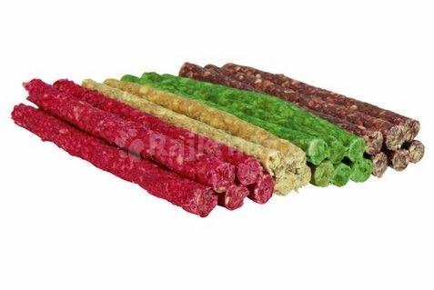 Tyčinka chroupací 9-10mm/12cm mix barev TRIXIE 100ks přírodní