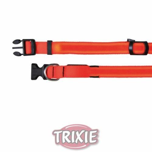 Flash nylonový svítící obojek oranžový ML 40-55 cm / 25 mm VÝPRODEJ