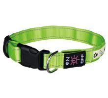 Svítící obojek USB S - M 30-40 cm / 25 mm zelený