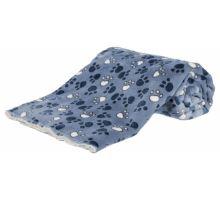 Deka TAMMY jemný plyš/dlouhý plyš modrá s packami