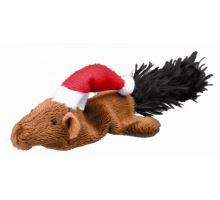 Vánoční plyšová myš/veverka hračka pro kočky 14-17 cm