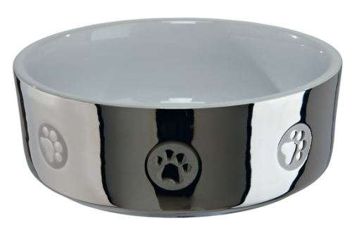 Keramická miska pro psy s packami stříbrno/bílá 0,3 l / 12 cm stříbrno / bílá