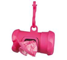 Plast.zásobník na sáčky na trus, tvar KOST,vč.1 role á 15ks