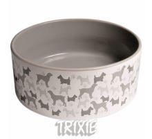Keramická miska - bílá/šedý motiv pes