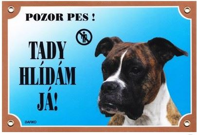 Barevná cedulka Pozor pes Boxer německý