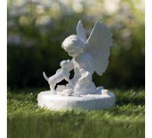 Náhrobní kámen pes s andělíčkem, bílý 12 x 14 cm