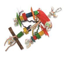 Hračka BIRD JEWEL Tripod závěsná dřevo - provaz 23 cm 1ks