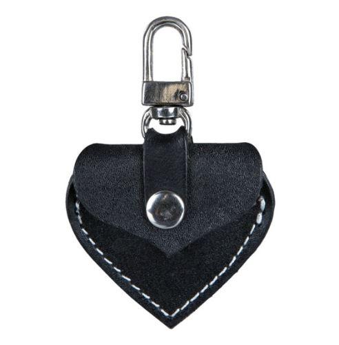 Adresář kožené srdíčko s kovovou karabinkou 5,5x5 cm černé