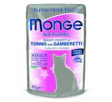Monge Natural kapsička tuňák v želé s krevetami pro kočky 80g