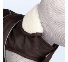 Obleček CHAMBÉRY im.hnědé kůže, límec jehněčí vlna M 45 cm