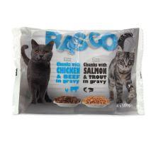 RASCO Cat s lososem a pstruhem / s kuřecím a hovězím 4 x 100g 400g